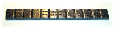 Zinc plated steel weights, 1 strip 8 x 14 gram blocks totaling 112 grams